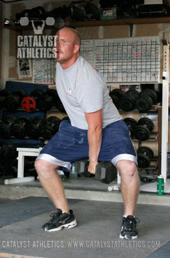 Start position for 1-arm DB hang snatch - Olympic Weightlifting, strength, conditioning, fitness, nutrition - Catalyst Athletics