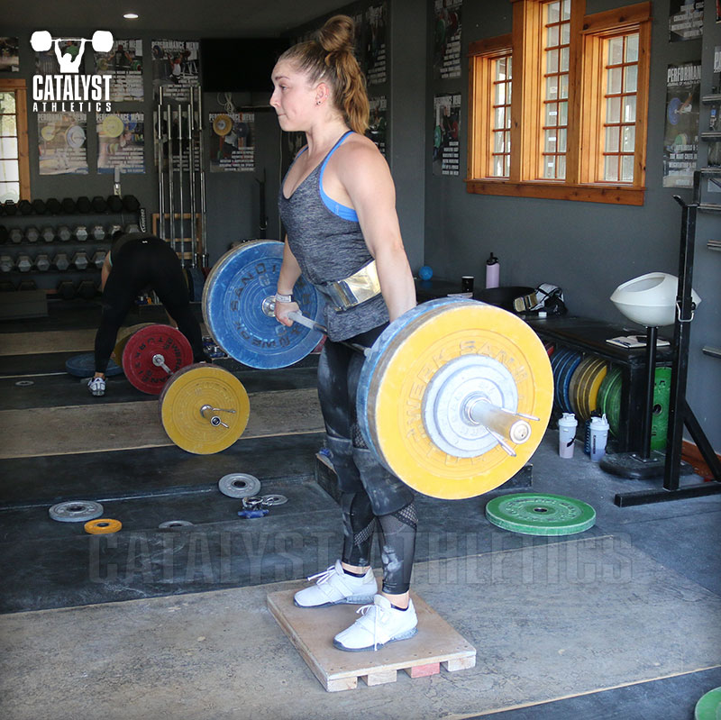 Mattie halting clean deadlift on riser - Olympic Weightlifting, strength, conditioning, fitness, nutrition - Catalyst Athletics