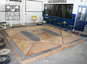 Competition platform at Newport Harbor High School - Olympic Weightlifting, strength, conditioning, fitness, nutrition - Catalyst Athletics