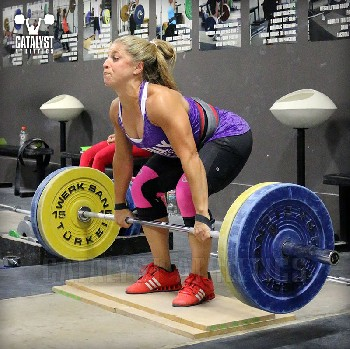Danielle clean pull on riser - Olympic Weightlifting, strength, conditioning, fitness, nutrition - Catalyst Athletics